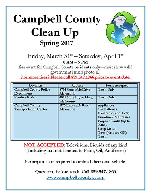 Campbell County Spring Cleanup flyer